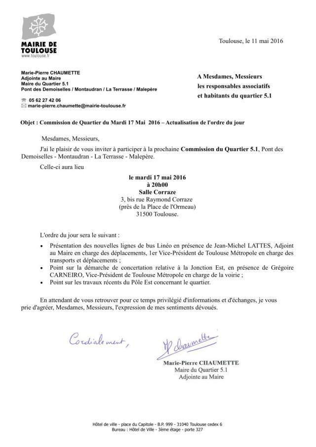Invitation CDQ 17 mai 2016 - actualisation de l'ordre du jour